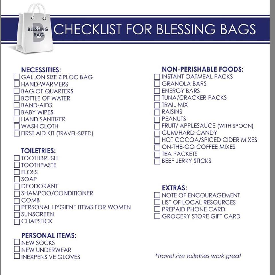 Destined Dreams Charity - Blessing Bag Checklist