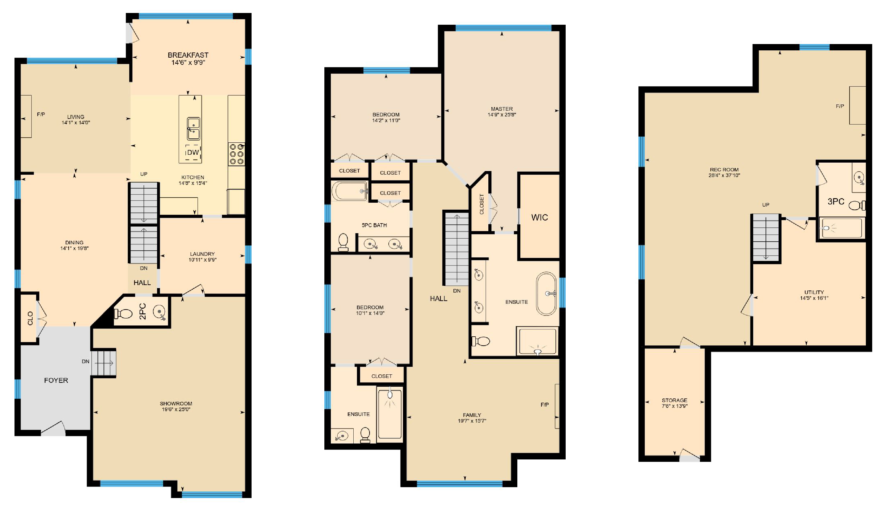 iGuide Multicolored Warm Floor Plan Colors - Square Feet Photography and Floor Plans