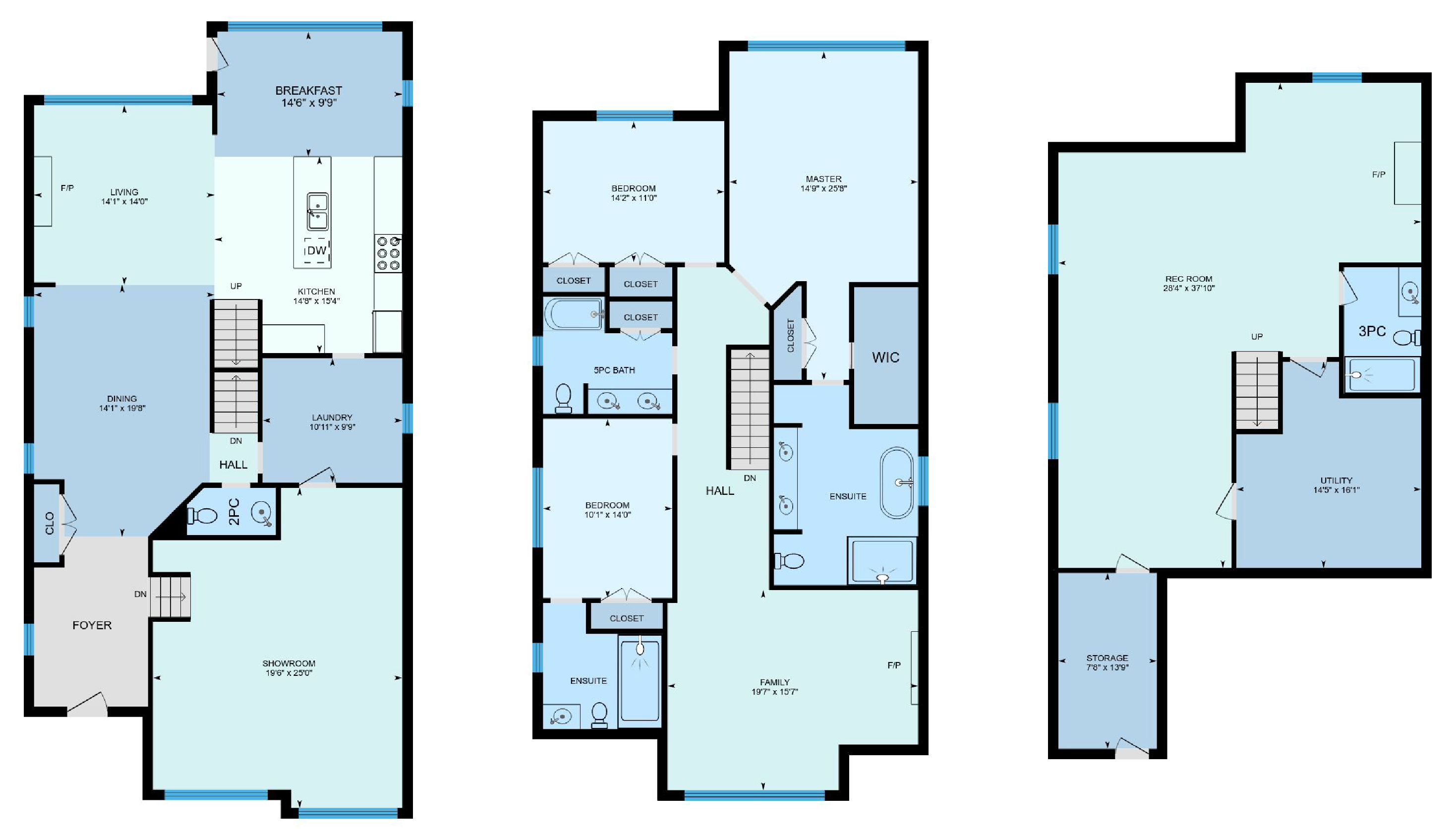 iGuide Multicolored Cool Floor Plan Colors - Square Feet Photography and Floor Plans