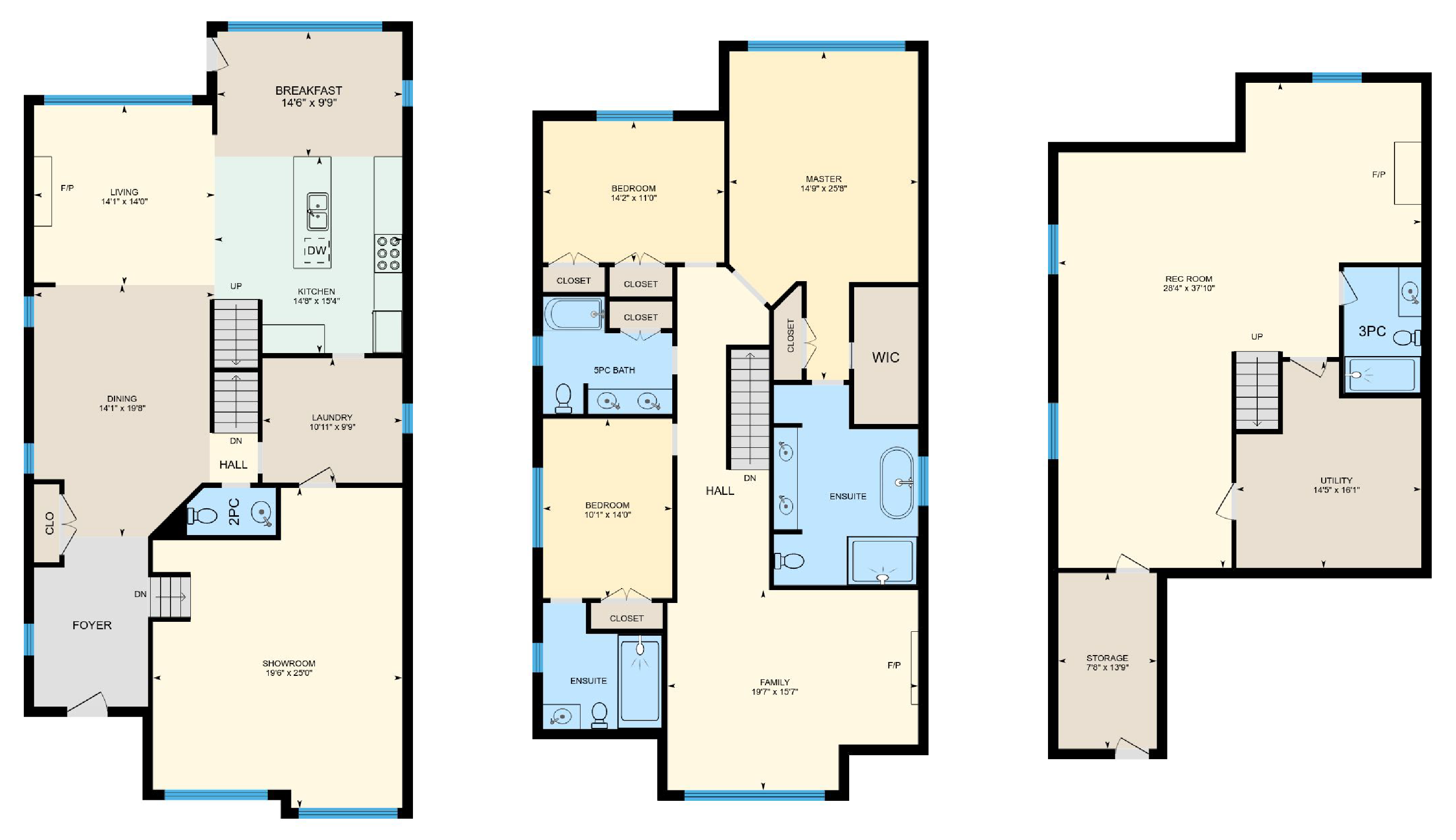 iGuide Multicolored Balanced Floor Plan Colors - Square Feet Photography and Floor Plans