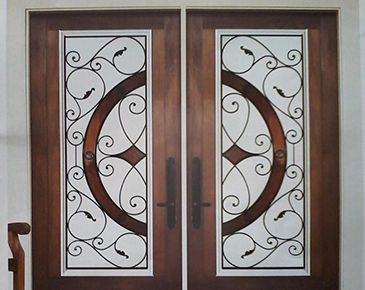 Brown Bordered Door - Door Insert  by Modern Window Fashion