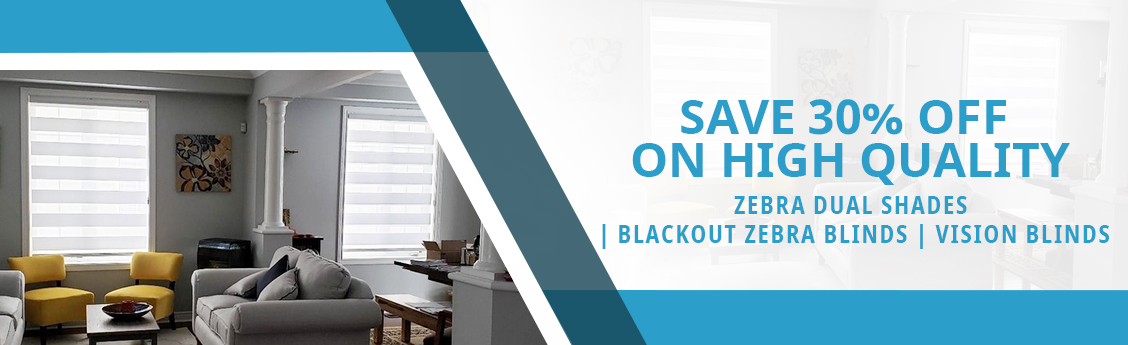 Save 30% Off on High Quality Zebra Dual Shades | Blackout Zebra Blinds | Vision Blinds