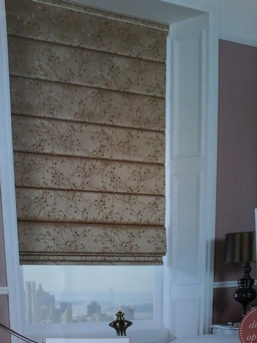 Brown Coloured Printed Classic Roman Shades - Window Coverings Ottawa by Modern Window Fashion