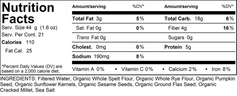 Nutritional Facts Chart for Sesame Star