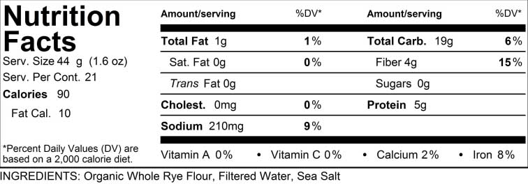 Nutritional Facts Chart for Farmers Crusty