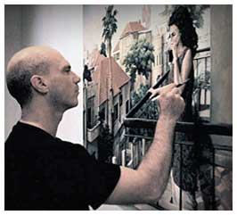 Contemporary Realist Painter while Painting Imaginative Realism Painting