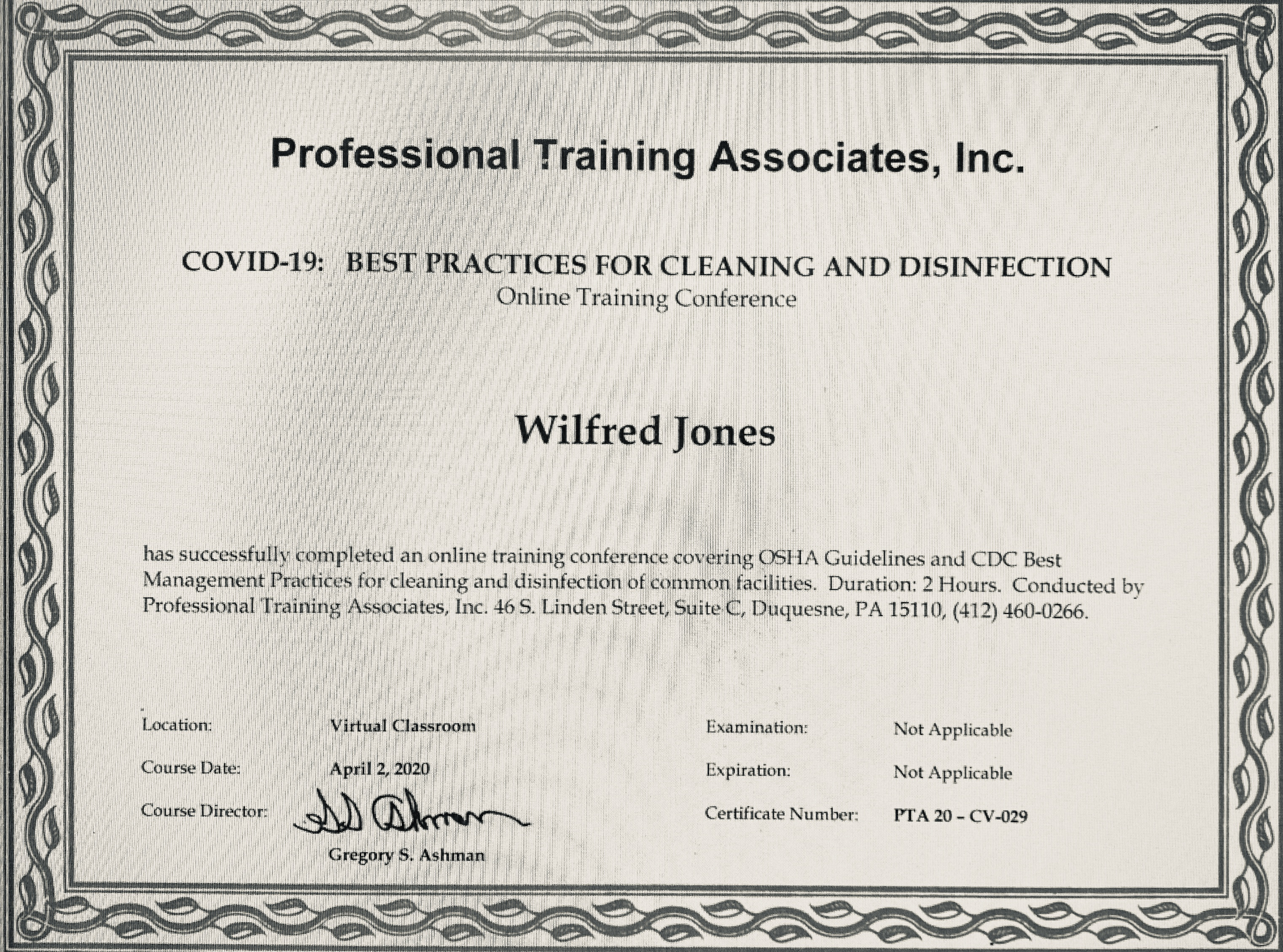 professional training associates certificate