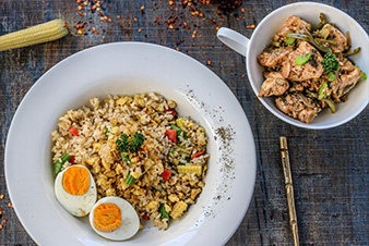 Celery Chicken with Egg Brown Rice