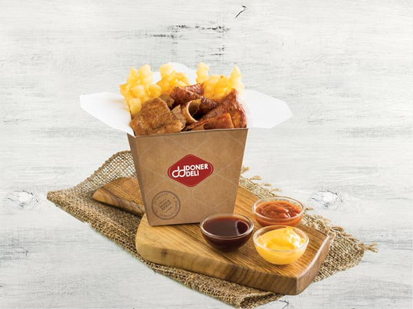 Doner Box with Crinkle Fries