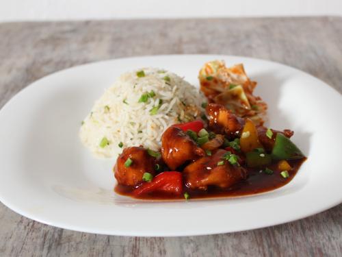 Chicken Manchurian & Scallion Rice