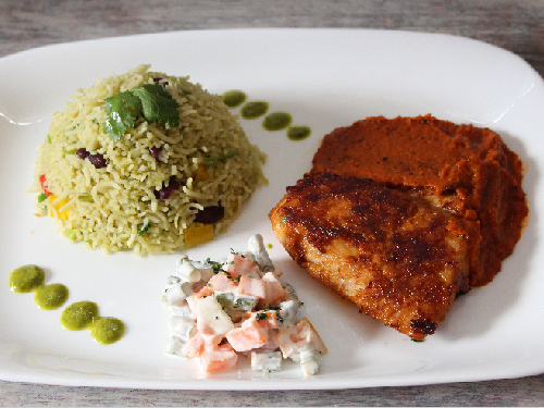 Adobo Flavoured Fish with Mexican Green Rice