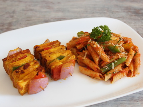 Veg Skewers with Penne Pasta