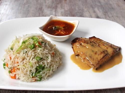 Basil & Mustard Fish with Veg Fried Rice