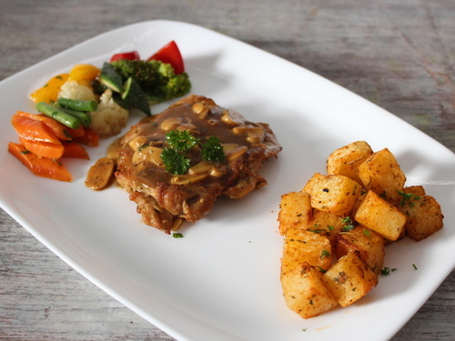 Chicken Steak with Mushroom Sauce & Roast Potatoes