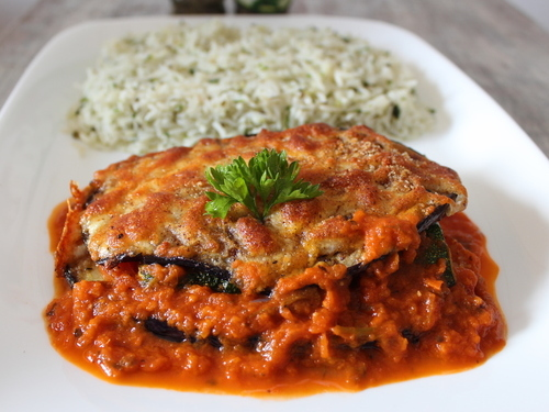 Aubergine Parmigiana with Herb Rice