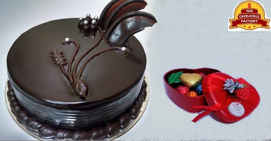 Choco Truffle Cake & Chocolates Gift Box; Code: AB01