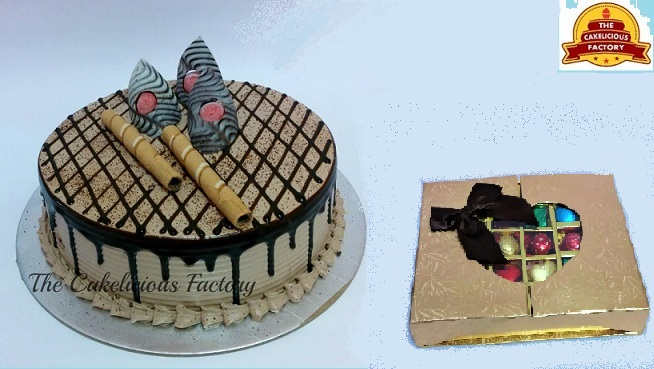 Choco Caffechino Cake & Gift Box of 30 Chocolates; Code AB04