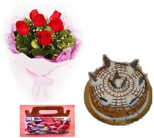 Butterscotch Cake, Flowers & Chocolates; Code AB04