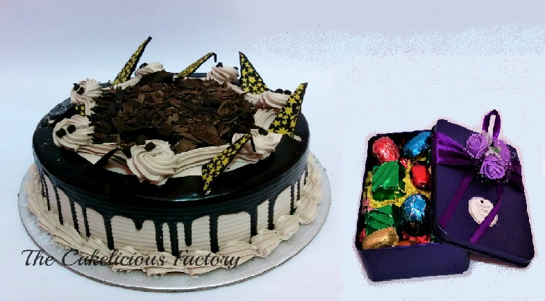 Choco Flakes Cake & Gift Box of 12 Chocolates; Code: AB03