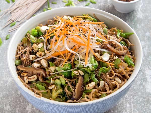 Shiitake and Edamame Soba Noodles Stir Fry