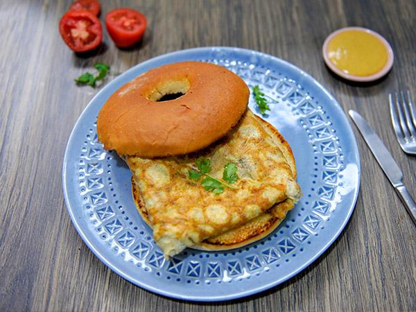 Masala Omelette Bagel