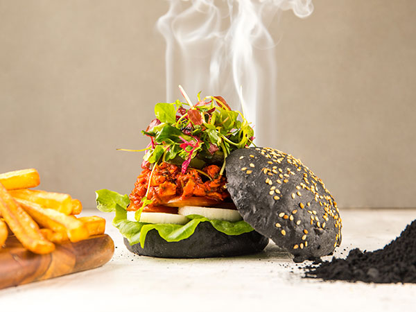 Charcoal Activated Pulled Chicken Burger