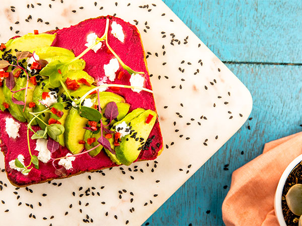 Beetroot Hummus and Avocado Toast