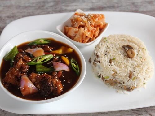 Chilli Chicken with Mushroom Fried Rice
