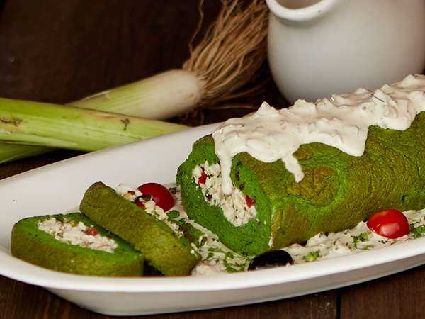 Spinach Roulade (rate includes security deposit of Rs 600/-)