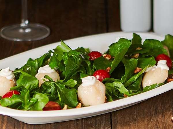 Feta Stuffed Lychees  Green salad