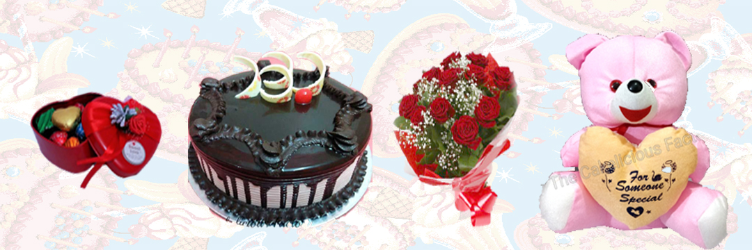 Choco Lovers cake & Teddy & Bouquet & Chocolate Box (AB10)