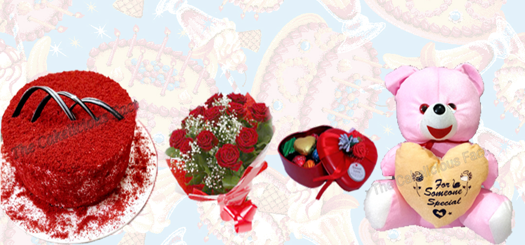 Red Velvet Cheese Cream Cake & Teddy Bear & Bouquet & Chocolates (AB11)
