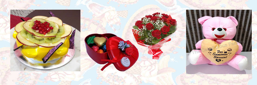 Fresh Fruit Cake, Flowers, Chocolates & Teddy; Code AB13