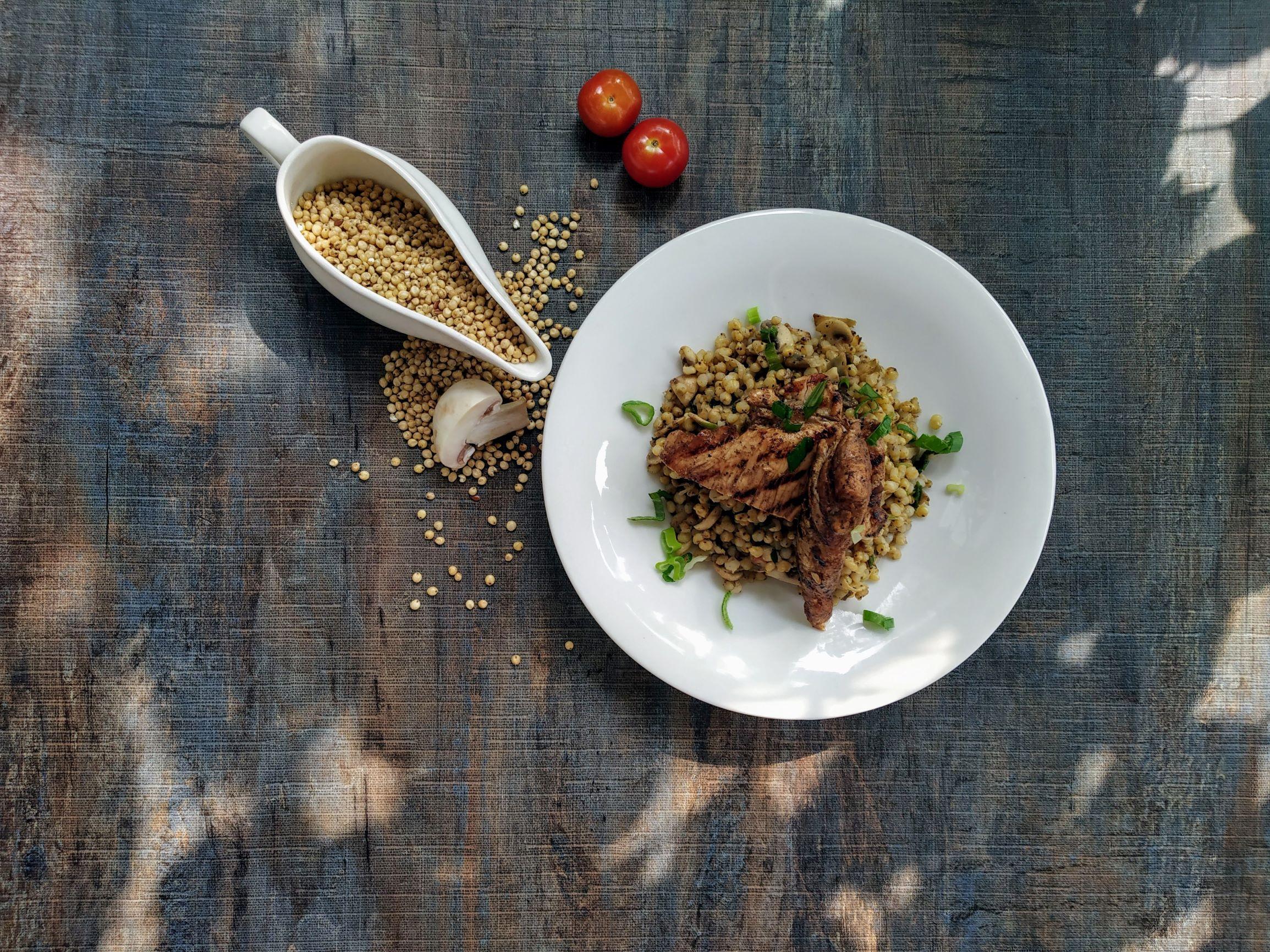 Mushroom Millet Pilaf & Balsamic Chicken