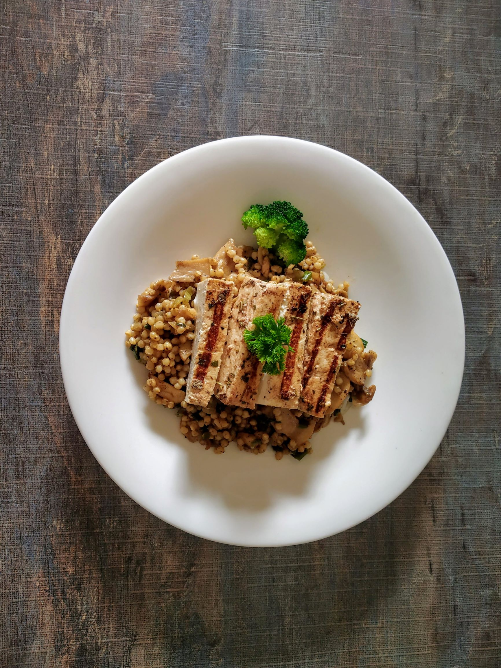 Mushroom Millet  Pilaf with balsamic tofu