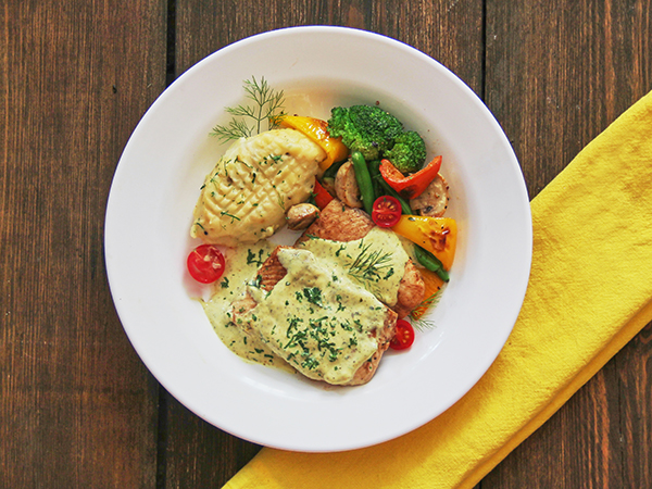 Grilled Sole Fish in a Creamy Mustard Sauce Combo