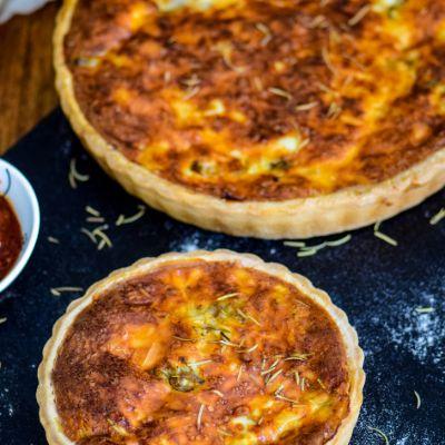 Quiche- Mushroom Tomato and Cheddar Quiche