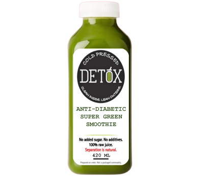 ANTI-DIABETIC SUPER GREEN SMOOTHIE - (SPINACH, BETEL LEAF, MINT, WHEAT-GRASS, SPIRULINA, MORINGA, APPLE, CINNAMON, BLACK PEPPER, TURMERIC, LEMON, ROCK SALT)