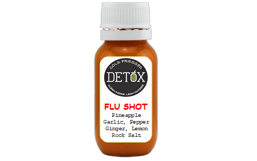 FLU SHOT - (PINEAPPLE, GINGER, LEMON, GARLIC, CAYENNE PEPPER, ROCK SALT)