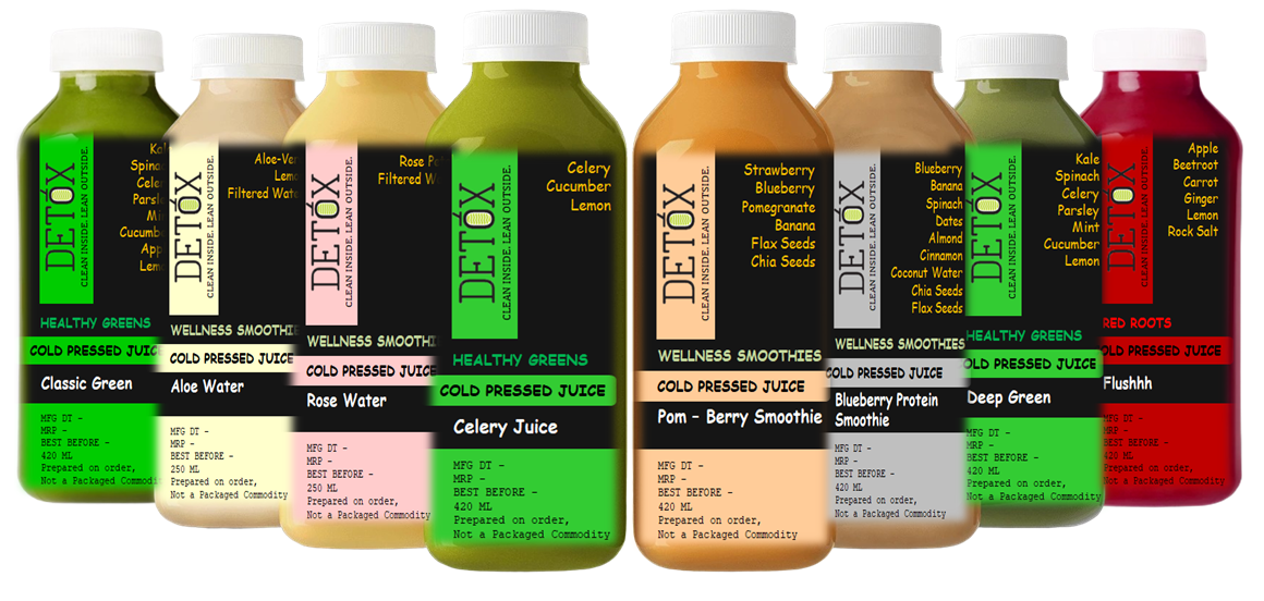 BEAUTY CLEANSE (420 ML X 6) - (CELERY JUICE + POM-BERRY SMOOTHIE + DEEP GREEN + FLUSHHH + BLUEBERRY PROTEIN SMOOTHIE + CLASSIC GREEN) + ALOE WATER X 250 ML + ROSE WATER X 250 ML