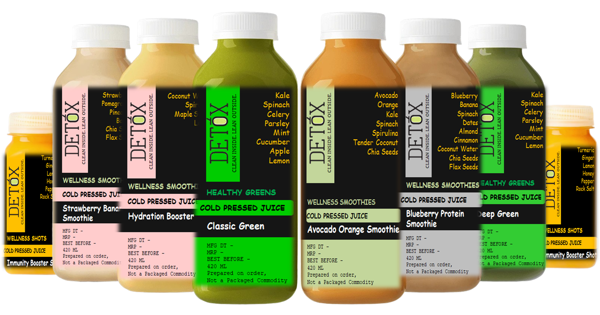 WORKOUT JUICE CLEANSE (420 ML X 6) - (BLUEBERRY PROTEIN SMOOTHIE + CLASSIC GREEN + DEEP GREEN + AVOCADO ORANGE SMOOTHIE + STRAWBERRY BANANA SMOOTHIE + HYDRATION BOOSTER) + 75 ML X 2 IMMUNITY BOOSTER SHOTS