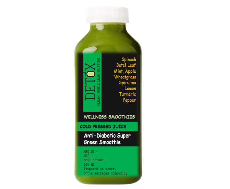 SUPER GREEN SMOOTHIE - (SPINACH, BETEL LEAF, MINT, WHEAT-GRASS, SPIRULINA, MORINGA, APPLE, CINNAMON, BLACK PEPPER, TURMERIC, LEMON, ROCK SALT)