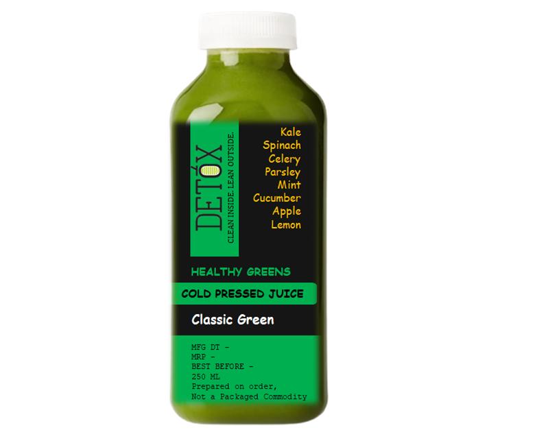 CLASSIC GREEN - (KALE, CELERY, PARSLEY, SPINACH, MINT, CUCUMBER, APPLE, LEMON)