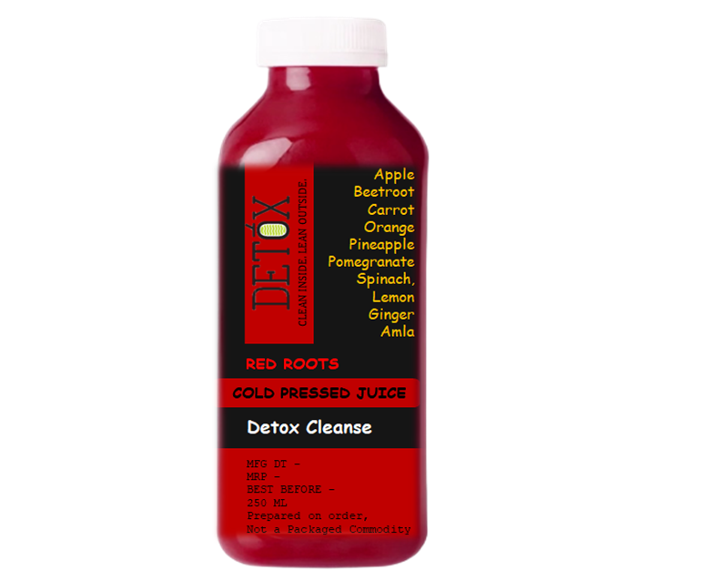DETOX CLEANSE - (Apple, Beetroot, Carrot, Pomegranate, Pineapple, Orange, Cucumber, Spinach, Amla, Aloe Vera, Wheat-grass, Ginger, Lemon)