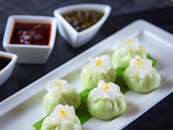 Edamame Dumplings with Truffle Oil