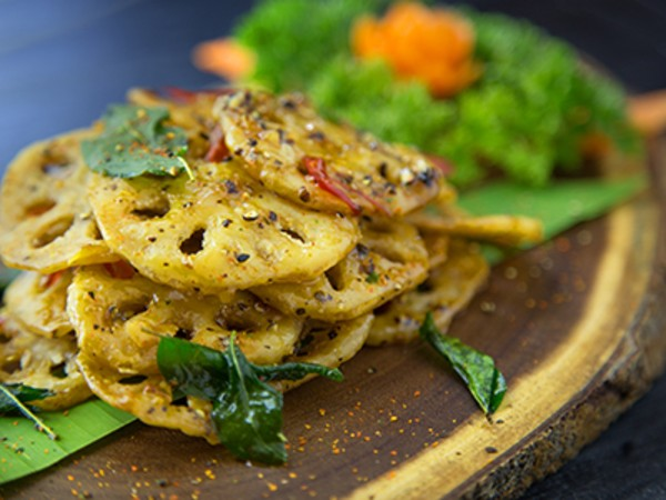 Crispy Lotus Stem with Black Pepper and Curry Leaves