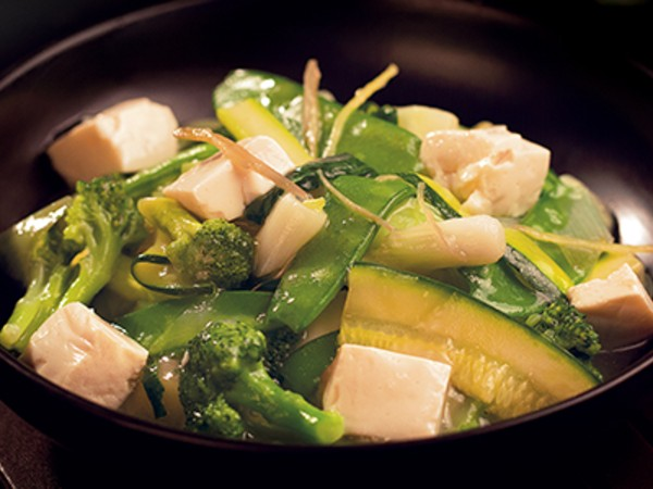 Steamed Chinese Greens with Tofu in a Mild Ginger Sauce