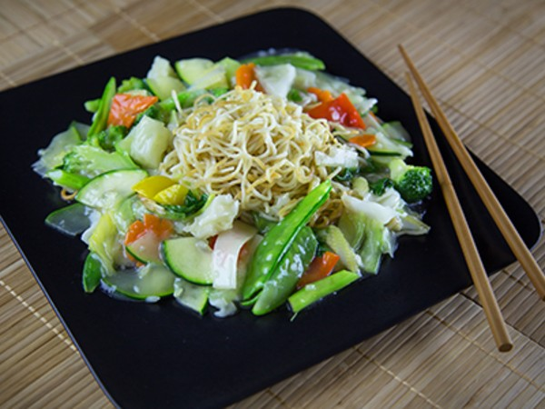 Pan Fried Noodles with a Cantonese Style Vegetable