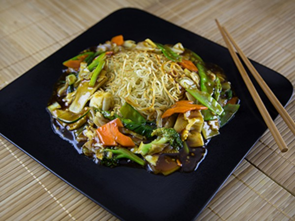 Pan Fried Noodles with a Soya Ginger Vegetable
