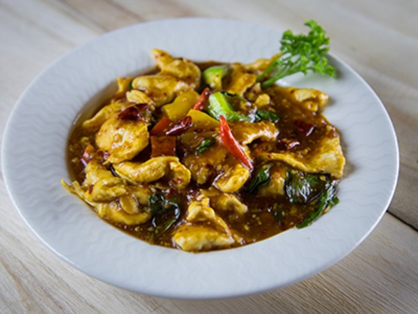 Stir Fried Chicken with Chillies Garlic and Hot Basil